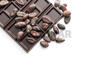 cocoa beans and chocolate bars