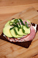 German Abendbrot, Pumpernickel With Ham and Avocado