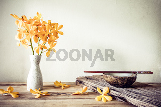 Cups and chopsticks with flower, home decoration concept