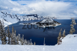 Wizard Island in caldera lake in Crater Lake National Park Oregon USA