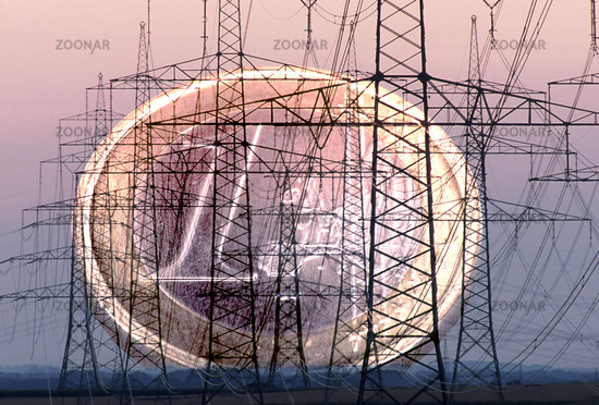 many electric power poles and euro coin