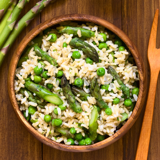 Asparagus Pea and Brown Rice Risotto