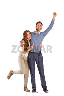 Portrait of cheerful young couple