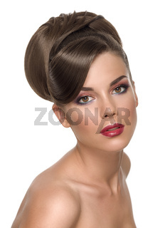 Beauty Portrait Glamour Beautiful Young Woman with elegant hairdo