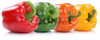 Sammlung Paprika Paprikas Gemüse in einer Reihe Freisteller freigestellt isoliert