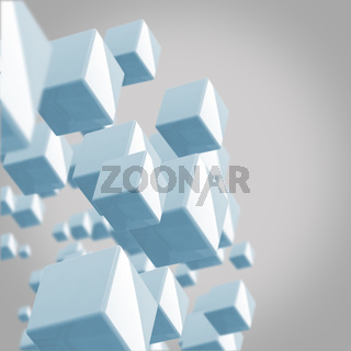abstract background blue cubes on the grey