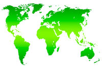 green gradient world map, isolated