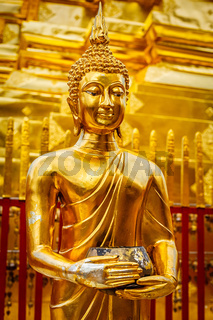 Gold Buddha statue in Wat Phra That Doi Suthep
