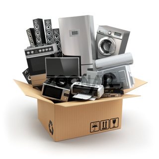Delivery or moving concept. Home appliance in box. Fridge, washing machine, tv printer, microvawe oven, air conditioneer and loudspeakers.