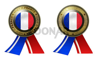 Set of 2 France seals Made in message and blank