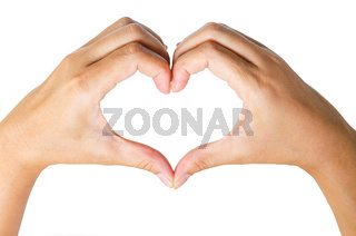 Female hands in the form of  heart.