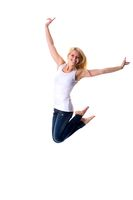 Attractive woman in jump