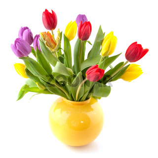 Colorful bouquet tulips