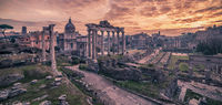 Rome, Italy: The Roman Forum in the beautiful sunrise