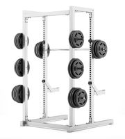 gym half rack with barbell isolated on white