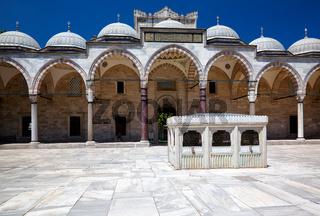 The inner courtyard of Suleymaniye Mosque, Istanbul