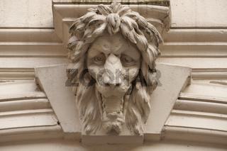 Löwenkopf an Hamburger Gebäudefassade