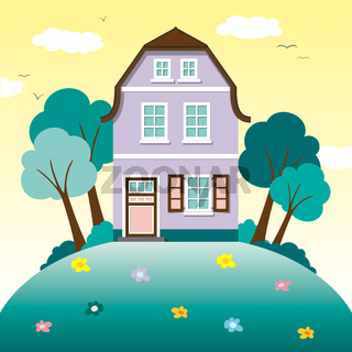 Sommerlandschaft mit Häusern