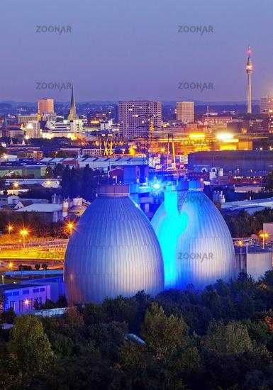 Panorama with illuminated sewage plant, Dortmund