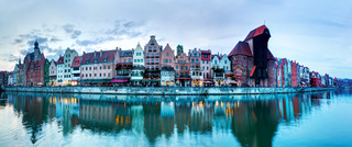 Panorama of Gdansk old town and Motlawa river
