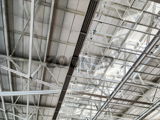 roof of large modern warehouse