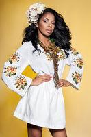 Afro Ukrainian girl in embroidery (Ukrainian national dress)