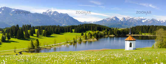 wide panorama landscape in Bavaria, Germany,