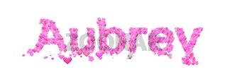 Aubrey female name set with hearts type design