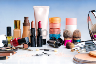 makeup set on table front view
