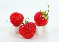 Strawberry on sugar cube