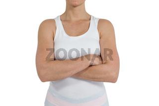 Female athlete standing on white background