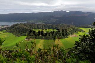 Crater of Cete Cidades with vulcano Caldeira Seca, Sao Miguel, Azores