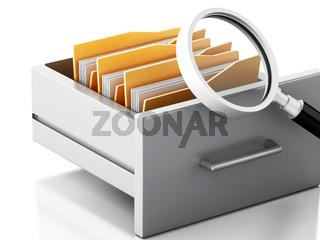 3d File cabinet. Search concept.
