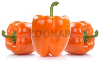 Paprika orange Paprikas Gemüse Freisteller freigestellt isoliert
