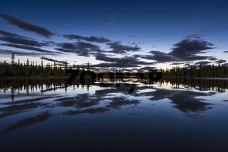 Mondnacht, Sjaunja Naturreservat, Welterbe Laponia, Lappland