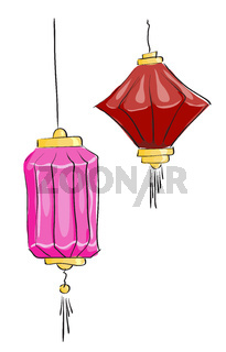 Vector drawing. Two Chinese lantern on a white background