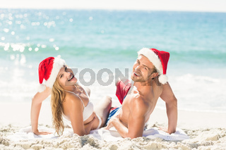 happy couple with Christmas hat