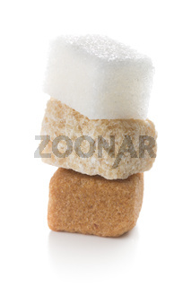 three different sugar cubes