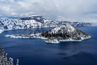 Wizard Island in caldera lake in Crater Lake National Park Oregon USA