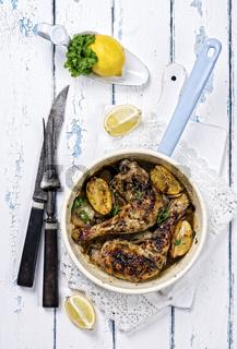 Lemon Chicken in enamel pan