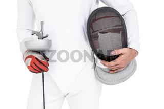 Swordsman holding fencing mask and sword