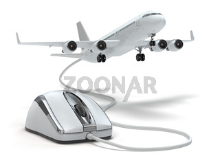 Online booking flight or travel concept. Computer mouse and airplane.
