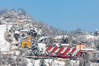 Small italian village covered with snow.