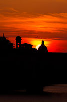 Sundown behind cathedral in florence italy