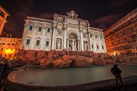 Rome, Italy: The Trevi Fountain at night