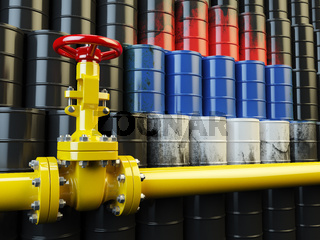 Oil pipe line valve in front of the russian flag on the oil barrels. Iranian gas and oil fuel energy concept. 3d