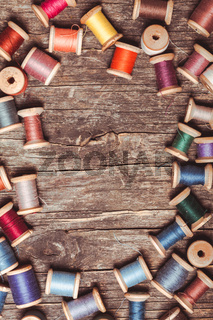 Retro wooden sewing spools