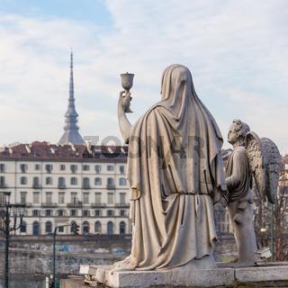 Turin, Italy - January 2016: Faith Statue