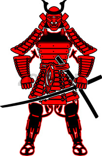 Red samurai in armor