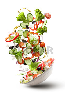 flying salad isloated on white